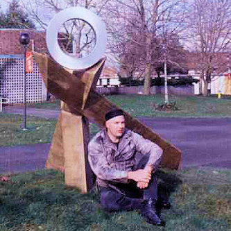 James with his first public sculpture